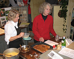 Carol teaching a cooking class on grass-fed meats with Cynthia Nichlson. (photo by Christine O'Dell)